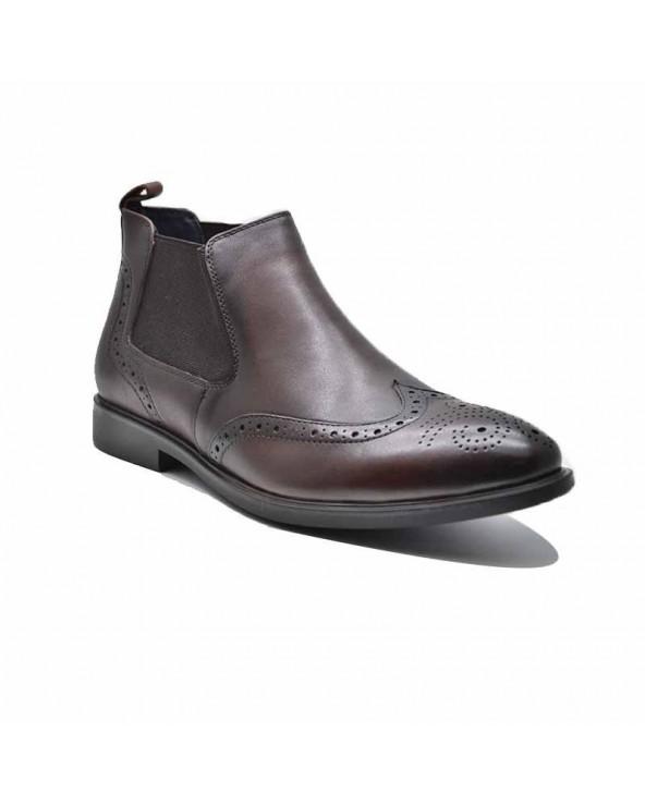 Boots derby cuir élastique